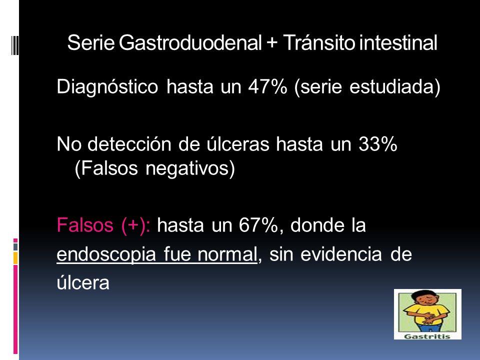Serie Gastroduodenal + Tránsito intestinal Diagnóstico hasta un 47% (serie estudiada) No detección de úlceras hasta un 33% (Falsos negativos) Falsos (