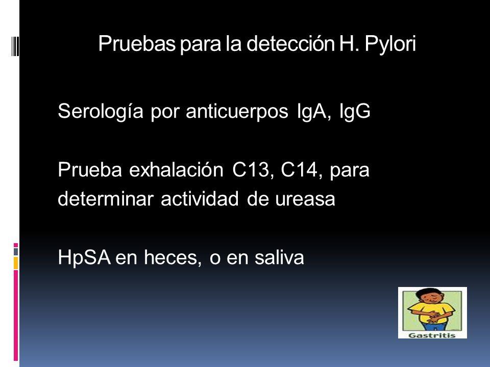 Pruebas para la detección H. Pylori Serología por anticuerpos IgA, IgG Prueba exhalación C13, C14, para determinar actividad de ureasa HpSA en heces,