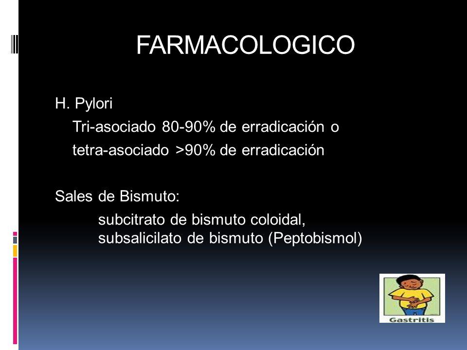 H. Pylori Tri-asociado 80-90% de erradicación o tetra-asociado >90% de erradicación Sales de Bismuto: subcitrato de bismuto coloidal, subsalicilato de