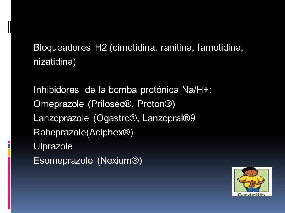 Bloqueadores H2 (cimetidina, ranitina, famotidina, nizatidina) Inhibidores de la bomba protónica Na/H+: Omeprazole (Prilosec®, Proton®) Lanzoprazole (