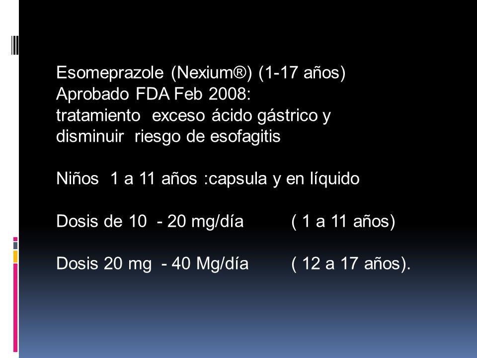Esomeprazole (Nexium®) (1-17 años) Aprobado FDA Feb 2008: tratamiento exceso ácido gástrico y disminuir riesgo de esofagitis Niños 1 a 11 años :capsul