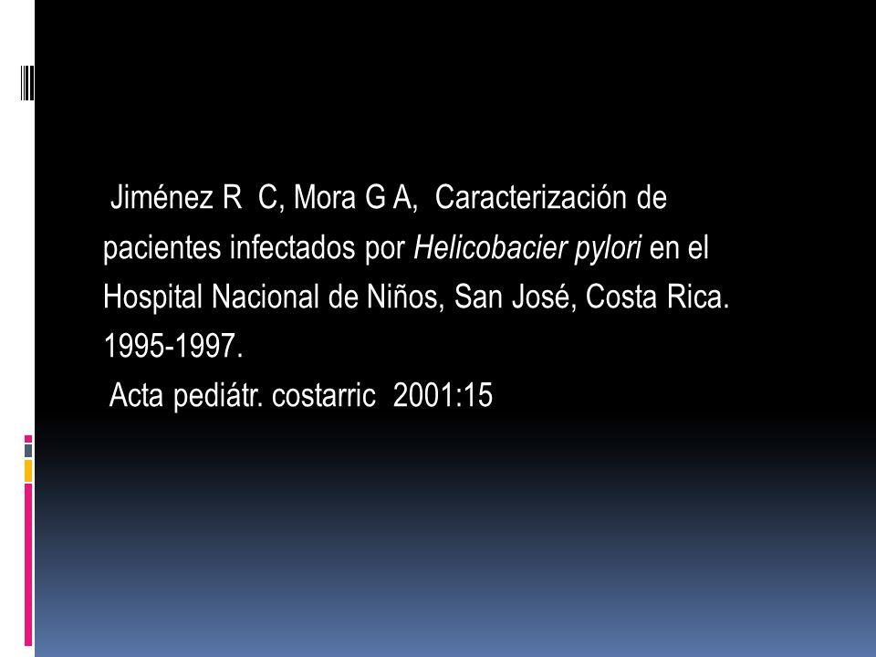 Jiménez R C, Mora G A, Caracterización de pacientes infectados por Helicobacier pylori en el Hospital Nacional de Niños, San José, Costa Rica. 1995-19