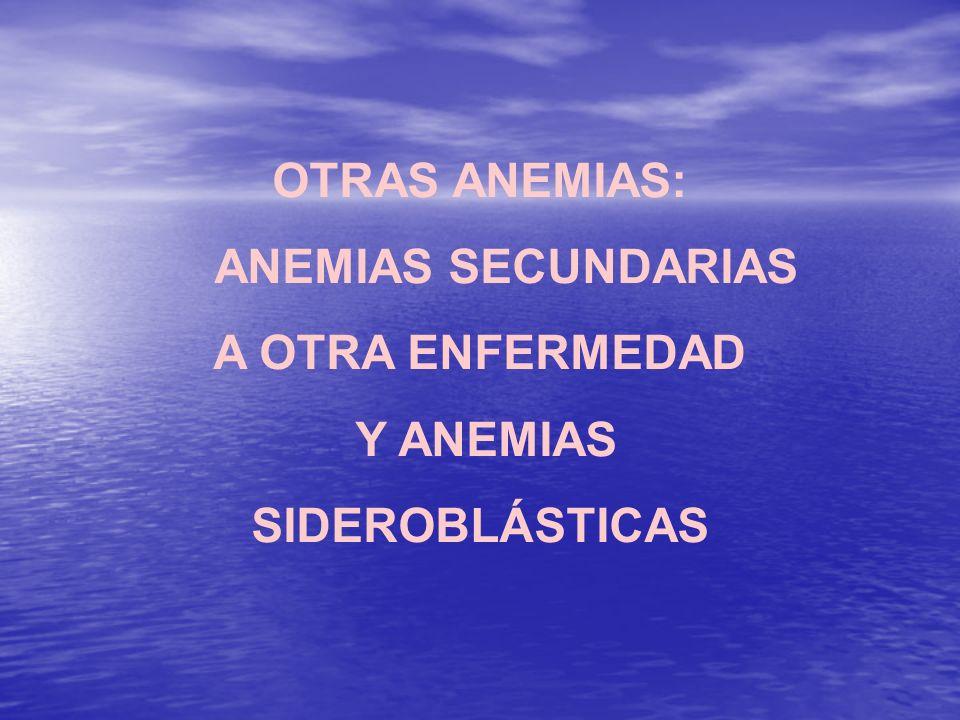 OTRAS ANEMIAS: ANEMIAS SECUNDARIAS A OTRA ENFERMEDAD Y ANEMIAS SIDEROBLÁSTICAS