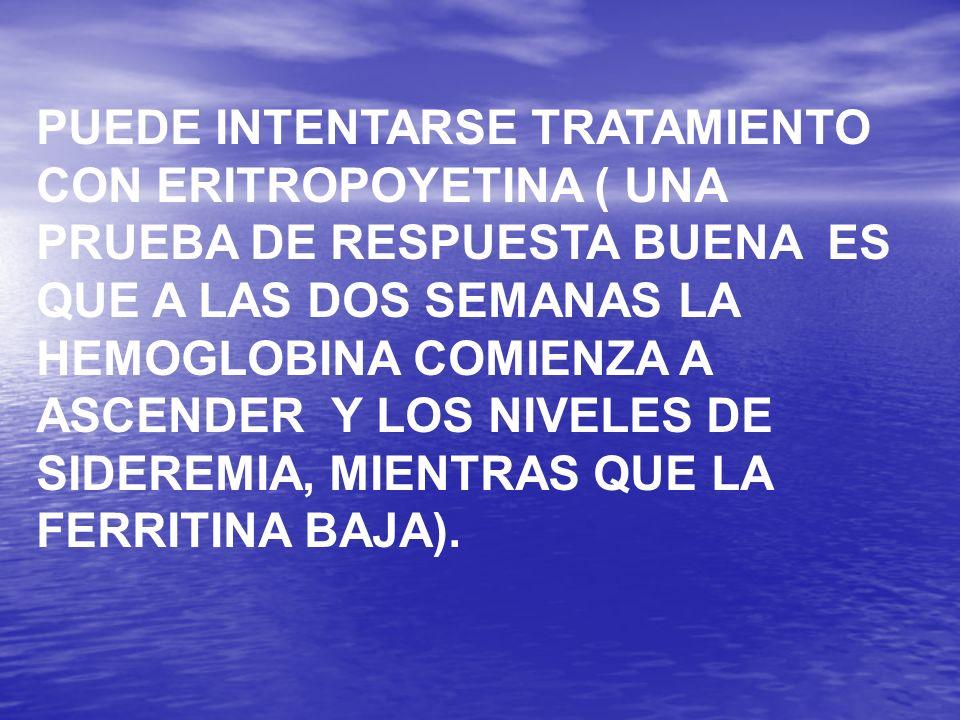 PUEDE INTENTARSE TRATAMIENTO CON ERITROPOYETINA ( UNA PRUEBA DE RESPUESTA BUENA ES QUE A LAS DOS SEMANAS LA HEMOGLOBINA COMIENZA A ASCENDER Y LOS NIVE