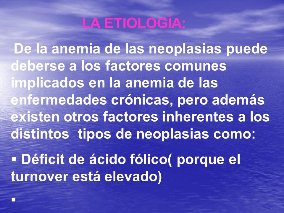 LA ETIOLOGÍA: De la anemia de las neoplasias puede deberse a los factores comunes implicados en la anemia de las enfermedades crónicas, pero además ex