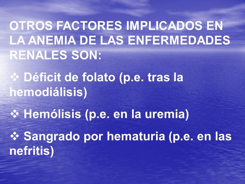 OTROS FACTORES IMPLICADOS EN LA ANEMIA DE LAS ENFERMEDADES RENALES SON: Déficit de folato (p.e. tras la hemodiálisis) Hemólisis (p.e. en la uremia) Sa