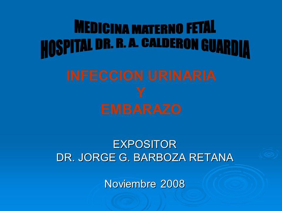 INFECCION URINARIA Y EMBARAZO EXPOSITOR DR. JORGE G. BARBOZA RETANA Noviembre 2008