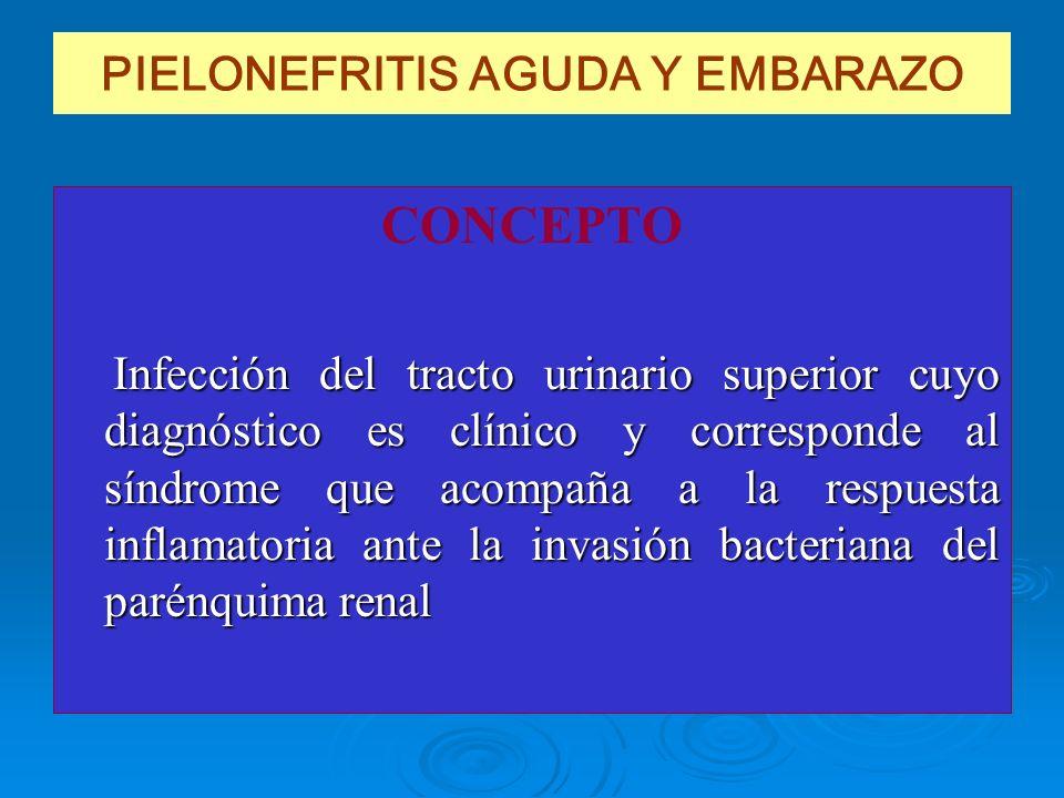 PIELONEFRITIS AGUDA Y EMBARAZO CONCEPTO Infección del tracto urinario superior cuyo diagnóstico es clínico y corresponde al síndrome que acompaña a la