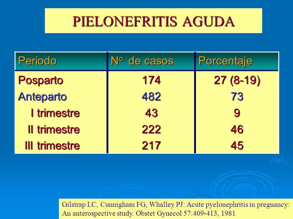 PIELONEFRITIS AGUDA Periodo N o. de casos Porcentaje PospartoAnteparto I trimestre I trimestre II trimestre II trimestre III trimestre III trimestre17
