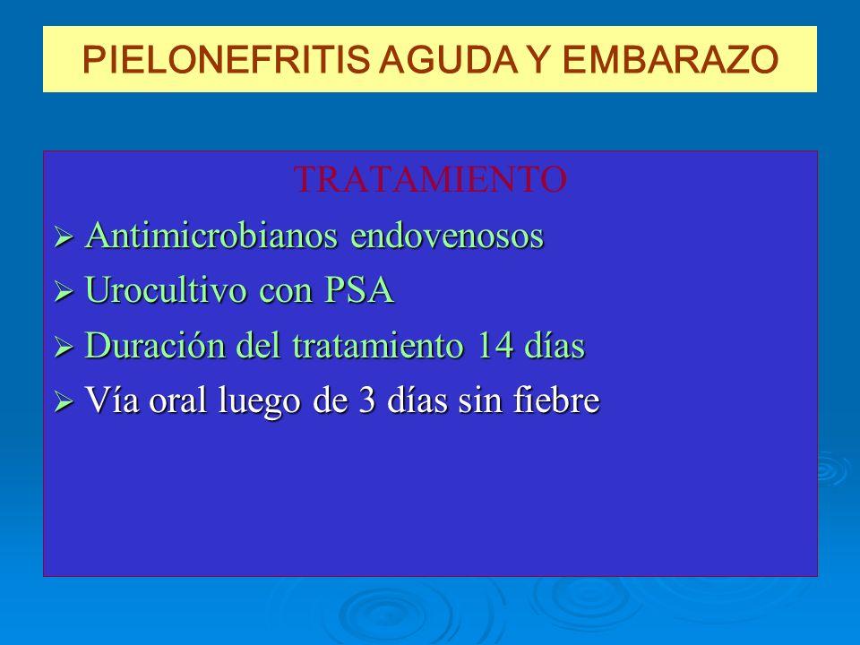 PIELONEFRITIS AGUDA Y EMBARAZO TRATAMIENTO Antimicrobianos endovenosos Antimicrobianos endovenosos Urocultivo con PSA Urocultivo con PSA Duración del