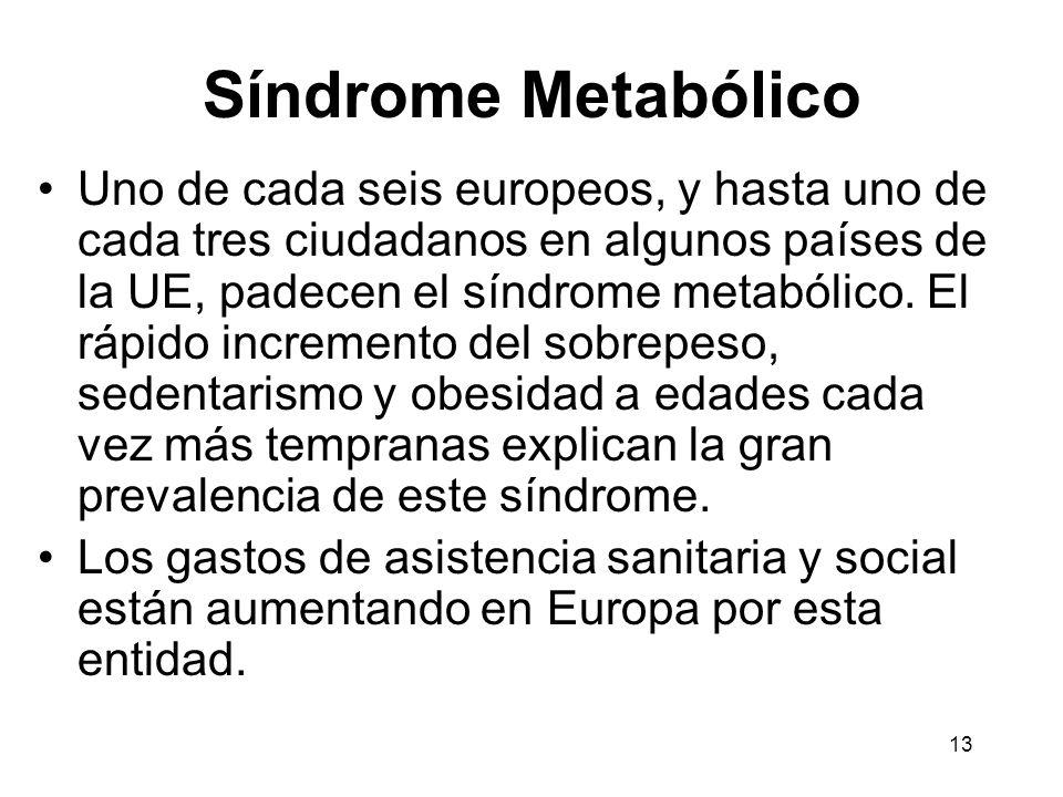 13 Síndrome Metabólico Uno de cada seis europeos, y hasta uno de cada tres ciudadanos en algunos países de la UE, padecen el síndrome metabólico. El r