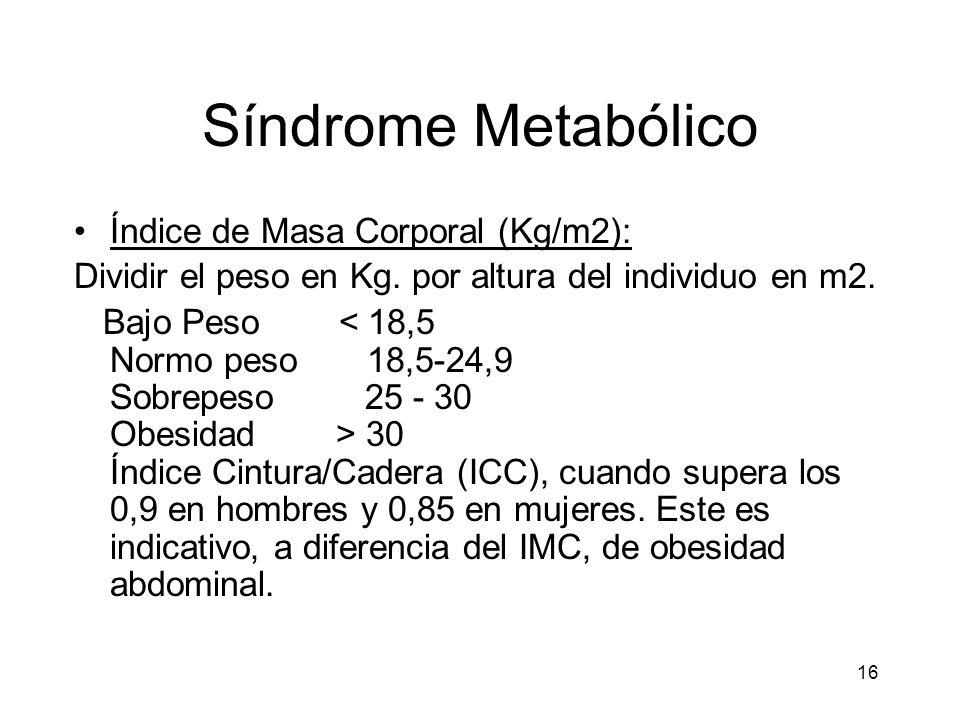 16 Síndrome Metabólico Índice de Masa Corporal (Kg/m2): Dividir el peso en Kg. por altura del individuo en m2. Bajo Peso 30 Índice Cintura/Cadera (ICC