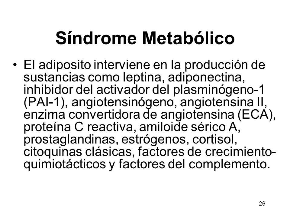 26 Síndrome Metabólico El adiposito interviene en la producción de sustancias como leptina, adiponectina, inhibidor del activador del plasminógeno-1 (