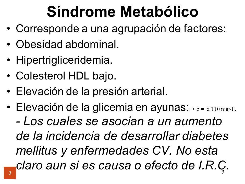 3 Síndrome Metabólico 3 Corresponde a una agrupación de factores: Obesidad abdominal. Hipertrigliceridemia. Colesterol HDL bajo. Elevación de la presi