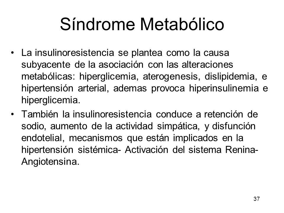 37 Síndrome Metabólico La insulinoresistencia se plantea como la causa subyacente de la asociación con las alteraciones metabólicas: hiperglicemia, at