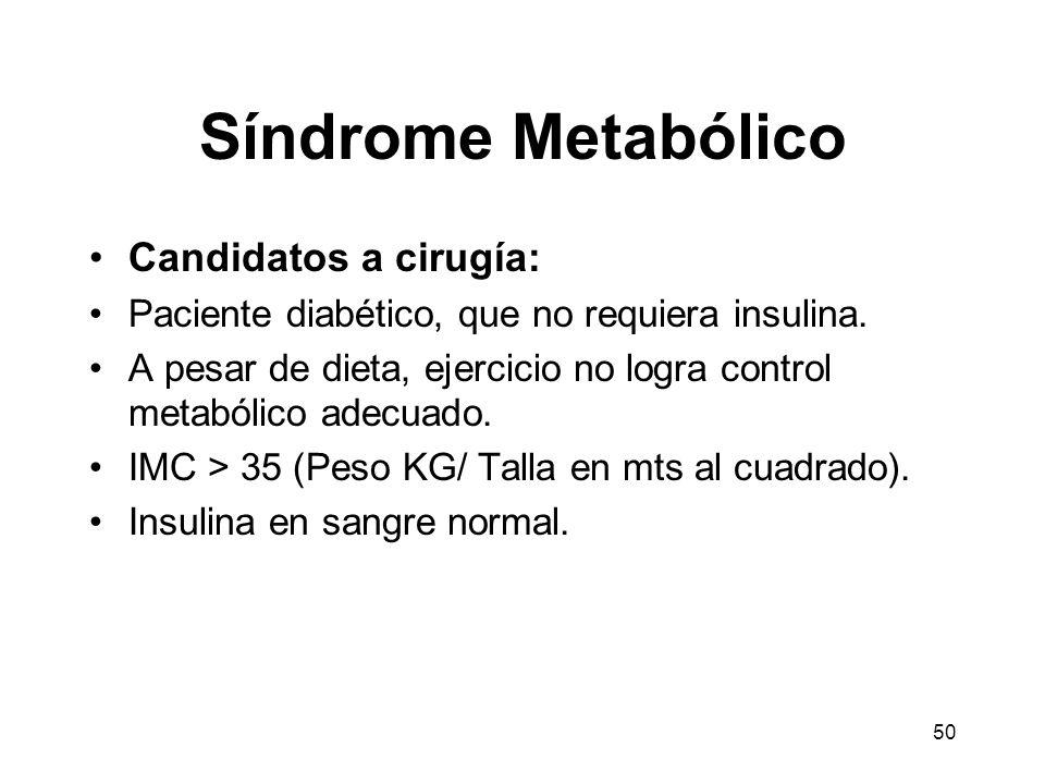 50 Síndrome Metabólico Candidatos a cirugía: Paciente diabético, que no requiera insulina. A pesar de dieta, ejercicio no logra control metabólico ade