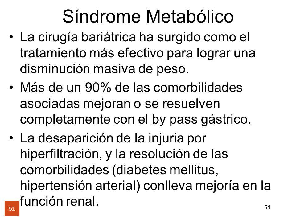 51 Síndrome Metabólico La cirugía bariátrica ha surgido como el tratamiento más efectivo para lograr una disminución masiva de peso. Más de un 90% de