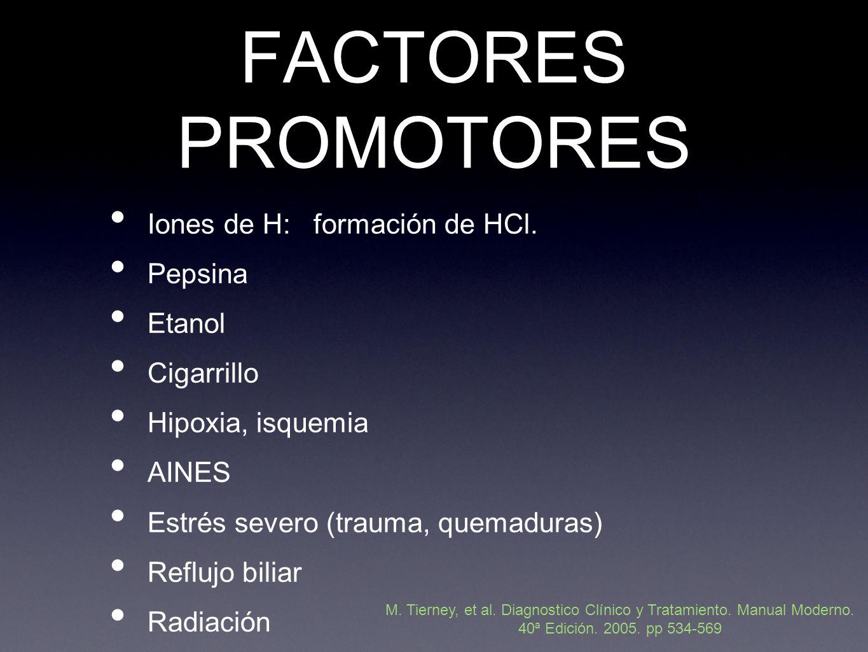 FACTORES PROMOTORES Iones de H: formación de HCl.
