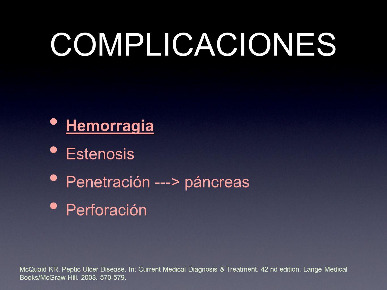 COMPLICACIONES Hemorragia Estenosis Penetración ---> páncreas Perforación McQuaid KR.