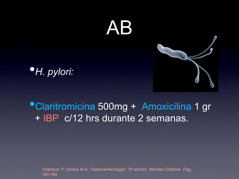 AB H. pylori: Claritromicina 500mg + Amoxicilina 1 gr + IBP c/12 hrs durante 2 semanas.