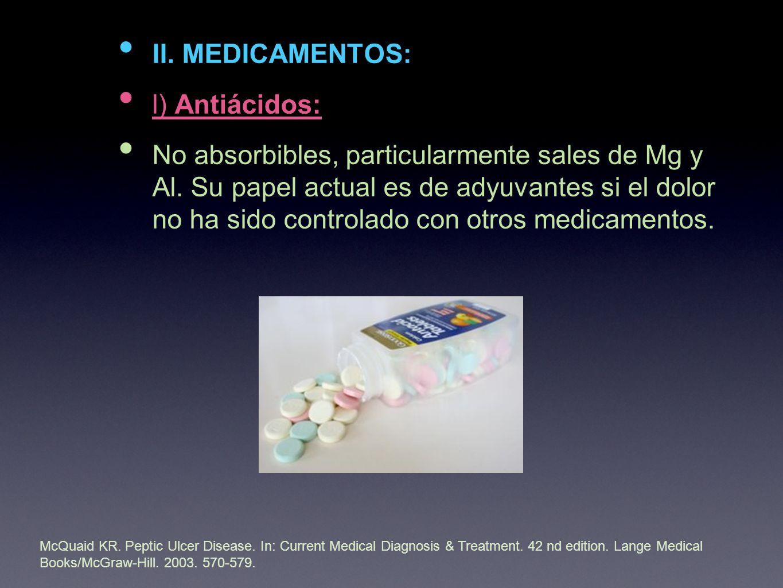 II. MEDICAMENTOS: l) Antiácidos: No absorbibles, particularmente sales de Mg y Al.
