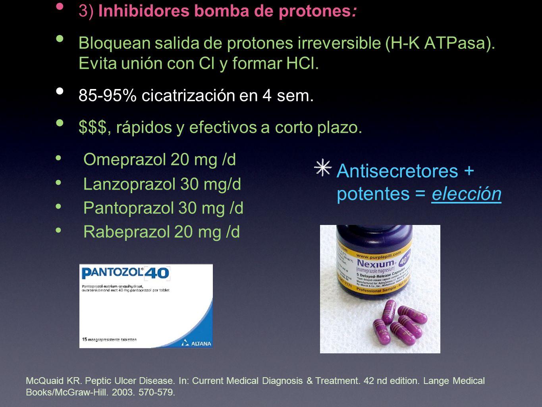 3) Inhibidores bomba de protones: Bloquean salida de protones irreversible (H-K ATPasa).