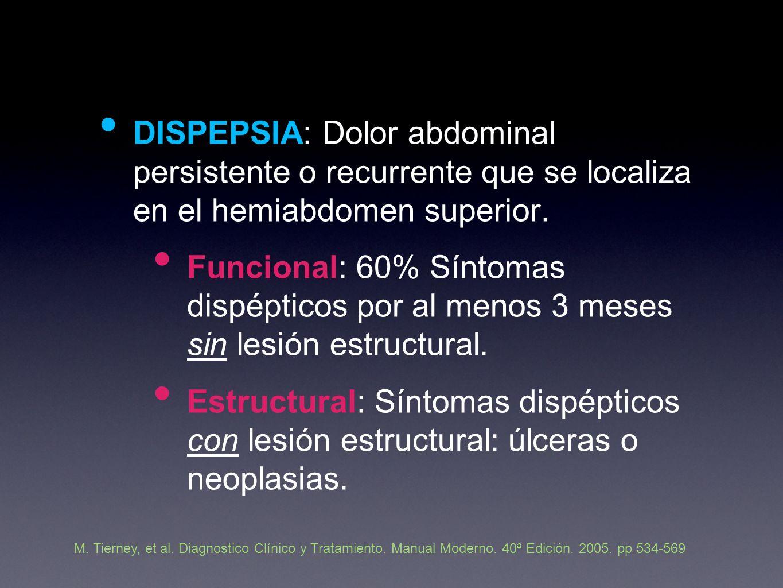 DISPEPSIA: Dolor abdominal persistente o recurrente que se localiza en el hemiabdomen superior.