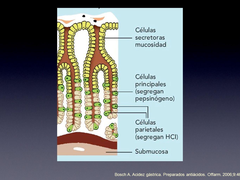 Bosch A. Acidez gástrica. Preparados antiácidos. Offarm. 2006;9:46-51.