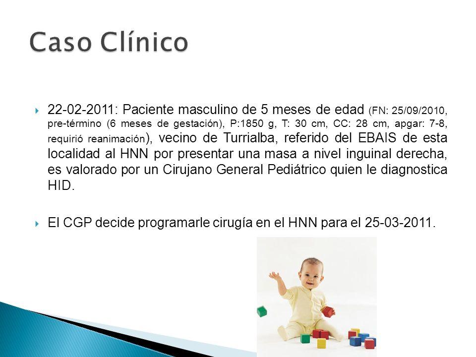 22-02-2011: Paciente masculino de 5 meses de edad (FN: 25/09/2010, pre-término (6 meses de gestación), P:1850 g, T: 30 cm, CC: 28 cm, apgar: 7-8, requ