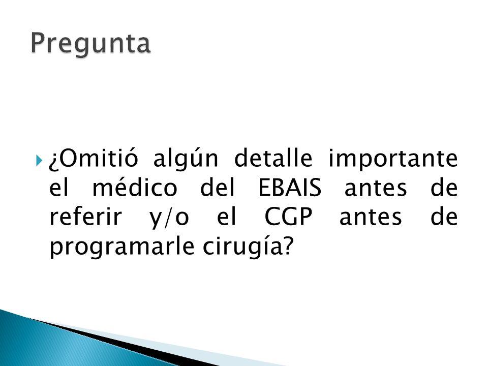 ¿Omitió algún detalle importante el médico del EBAIS antes de referir y/o el CGP antes de programarle cirugía?