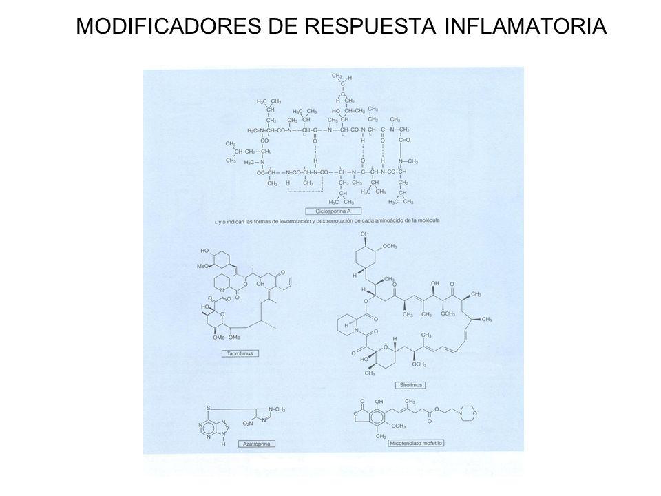 MODIFICADORES DE RESPUESTA INFLAMATORIA Fármacos que actúan sobre inmunofilinas Ciclosporina A, tacrolimus (FK 506), sirulimus (rapamicina) y everolimus (RAD).