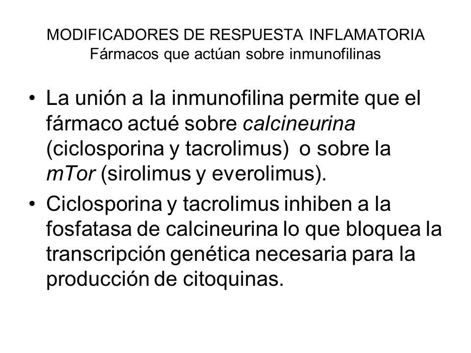 MODIFICADORES DE RESPUESTA INFLAMATORIA Fármacos que actúan sobre inmunofilinas Ciclosporina A y tacrolimus Al final inhiben la respuesta inmune celular: Inhiben proliferación de linfocitos T.