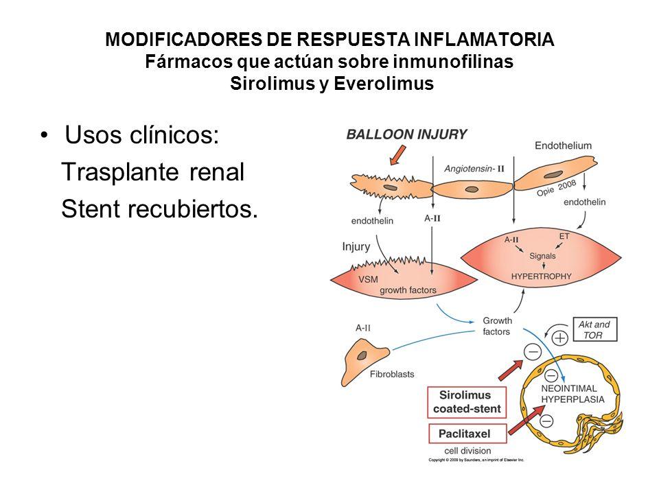 MODIFICADORES DE RESPUESTA INFLAMATORIA Fármacos citostáticos Azatioprina, Micofenolato de mofetilo, ciclofosfamida y metotrexate.