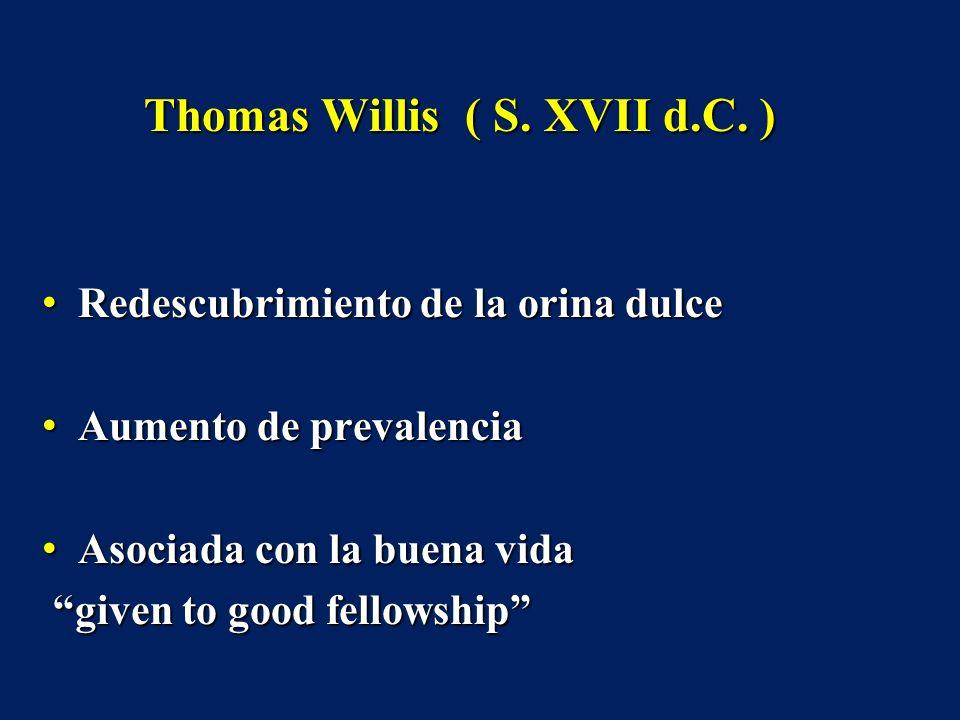 Thomas Willis ( S. XVII d.C. ) Redescubrimiento de la orina dulce Redescubrimiento de la orina dulce Aumento de prevalencia Aumento de prevalencia Aso