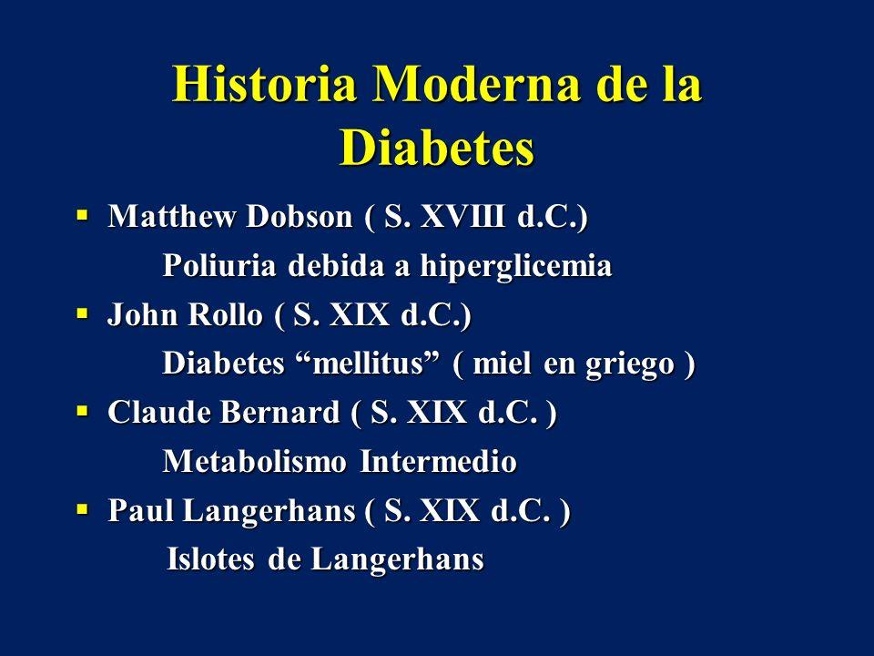 Historia Moderna de la Diabetes Matthew Dobson ( S. XVIII d.C.) Matthew Dobson ( S. XVIII d.C.) Poliuria debida a hiperglicemia John Rollo ( S. XIX d.