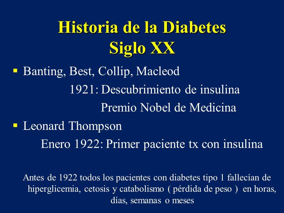 Historia de la Diabetes Siglo XX Banting, Best, Collip, Macleod 1921: Descubrimiento de insulina Premio Nobel de Medicina Leonard Thompson Enero 1922: