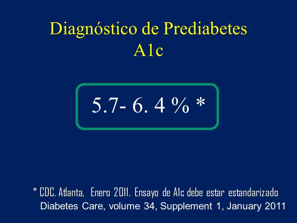 Diagnóstico de Prediabetes A1c 5.7- 6. 4 % * Diabetes Care, volume 34, Supplement 1, January 2011 * CDC. Atlanta, Enero 2011. Ensayo de A1c debe estar