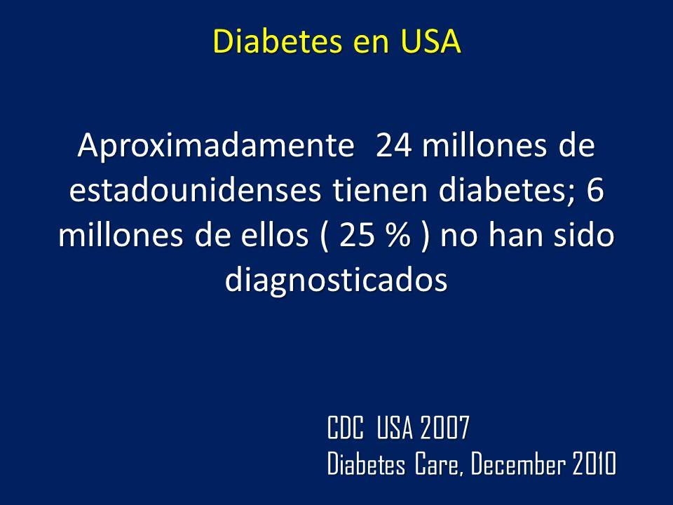 Diabetes en USA Aproximadamente 24 millones de estadounidenses tienen diabetes; 6 millones de ellos ( 25 % ) no han sido diagnosticados CDC USA 2007 D