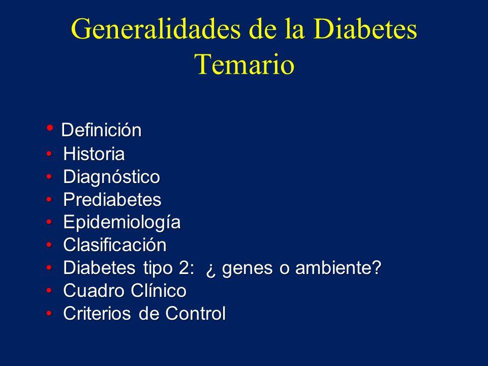 Generalidades de la Diabetes Temario Definición Historia Historia Diagnóstico Diagnóstico Prediabetes Prediabetes Epidemiología Epidemiología Clasific