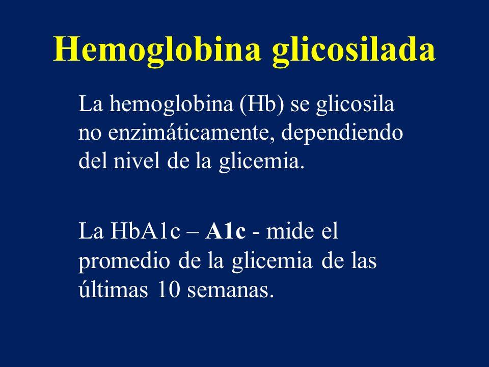 Hemoglobina glicosilada La hemoglobina (Hb) se glicosila no enzimáticamente, dependiendo del nivel de la glicemia. La HbA1c – A1c - mide el promedio d