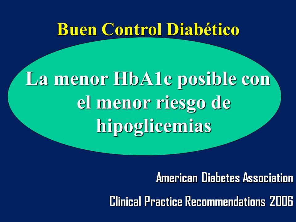 Buen Control Diabético La menor HbA1c posible con el menor riesgo de hipoglicemias American Diabetes Association Clinical Practice Recommendations 200