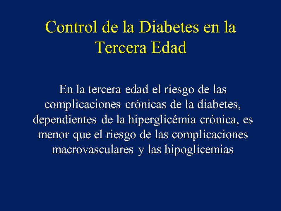 Control de la Diabetes en la Tercera Edad En la tercera edad el riesgo de las complicaciones crónicas de la diabetes, dependientes de la hiperglicémia