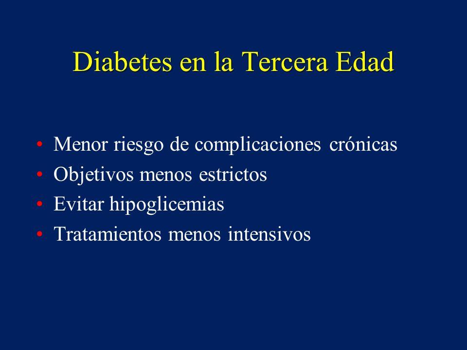 Diabetes en la Tercera Edad Menor riesgo de complicaciones crónicas Objetivos menos estrictos Evitar hipoglicemias Tratamientos menos intensivos