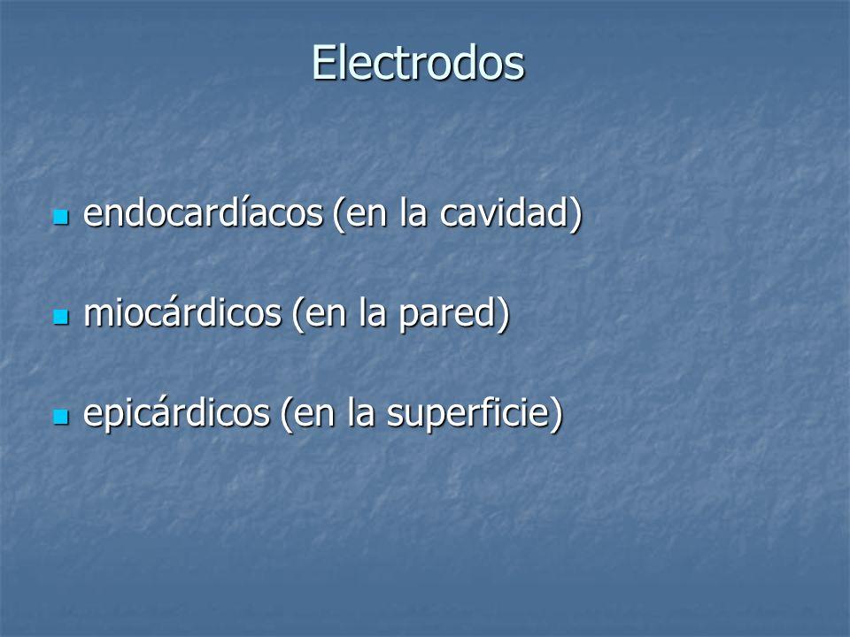 Electrodos endocardíacos (en la cavidad) endocardíacos (en la cavidad) miocárdicos (en la pared) miocárdicos (en la pared) epicárdicos (en la superfic