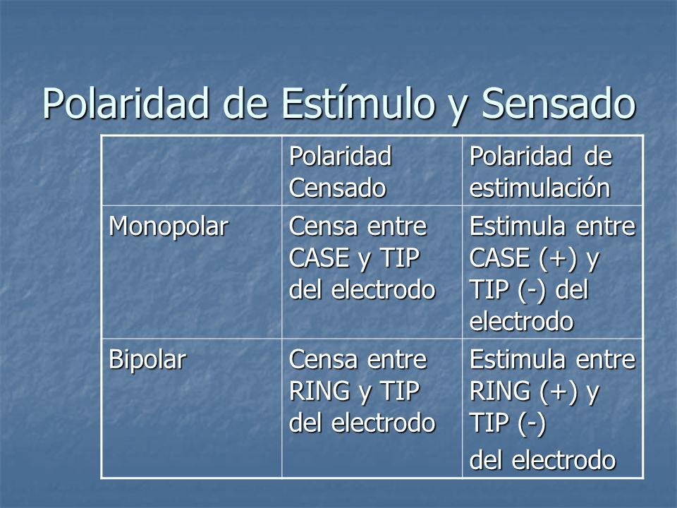 Polaridad de Estímulo y Sensado Polaridad Censado Polaridad de estimulación Monopolar Censa entre CASE y TIP del electrodo Estimula entre CASE (+) y T