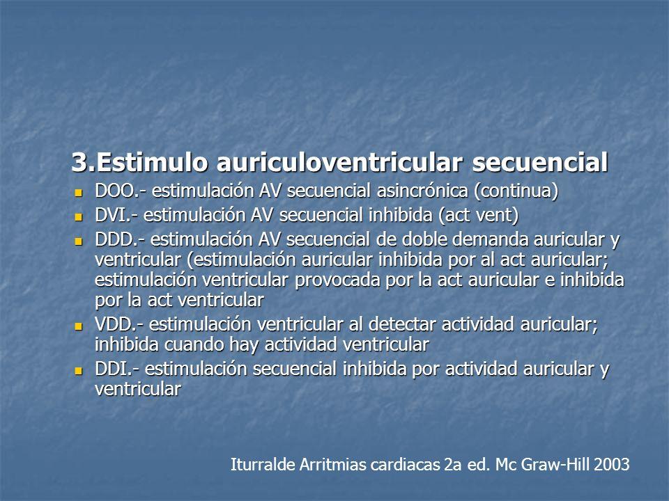 3.Estimulo auriculoventricular secuencial 3.Estimulo auriculoventricular secuencial DOO.- estimulación AV secuencial asincrónica (continua) DOO.- esti