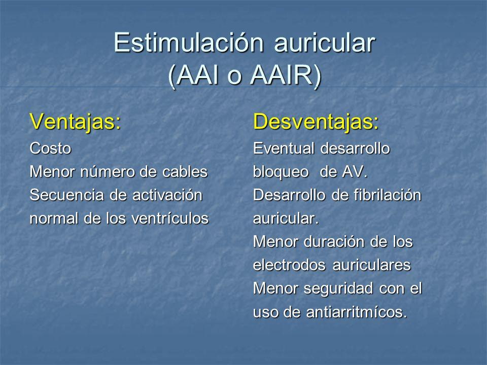 Estimulación auricular (AAI o AAIR) Ventajas:Costo Menor número de cables Secuencia de activación normal de los ventrículos Desventajas: Eventual desa