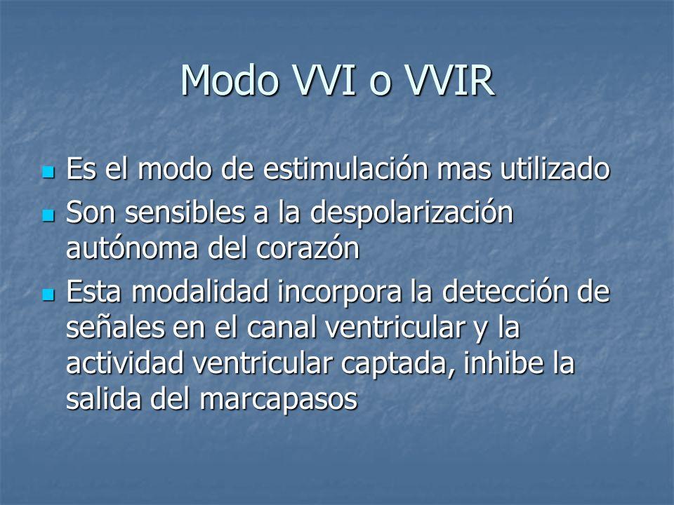 Modo VVI o VVIR Es el modo de estimulación mas utilizado Es el modo de estimulación mas utilizado Son sensibles a la despolarización autónoma del cora