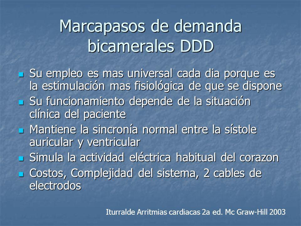 Marcapasos de demanda bicamerales DDD Su empleo es mas universal cada dia porque es la estimulación mas fisiológica de que se dispone Su empleo es mas
