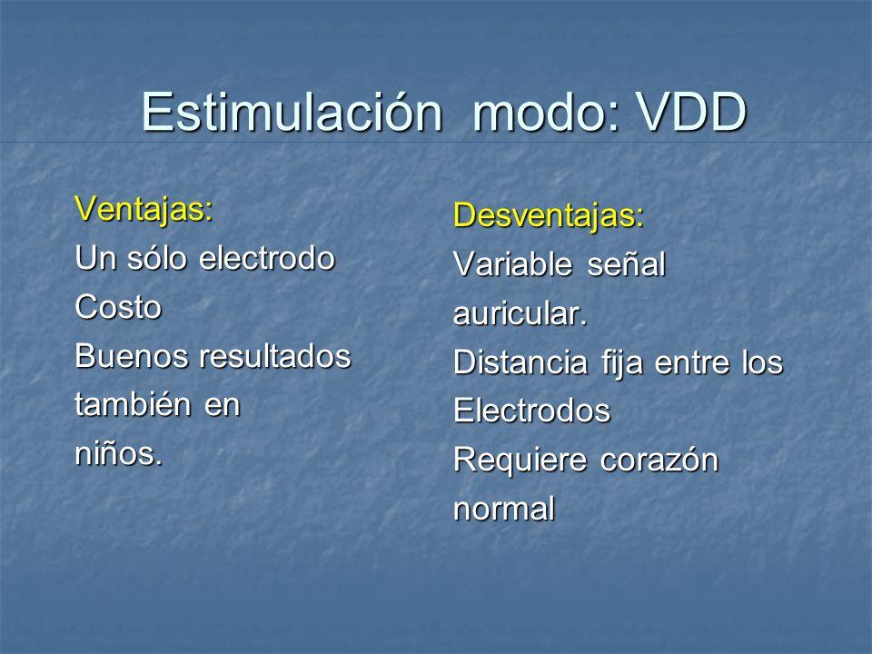 Estimulación modo: VDD Ventajas: Un sólo electrodo Costo Buenos resultados también en niños. Desventajas: Variable señal auricular. Distancia fija ent
